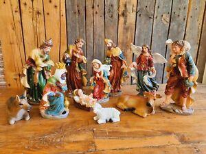 XXL Krippenfiguren 11-tlg. SET 28cm Maria Josef 3 Heiligen Könige Weihnachten