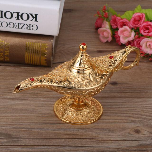 Metal Carved Legend Lamp Aladdin Genie Light Wish Pot Decor Silver Lace Red
