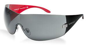 8efd3e78f19 Image is loading NEW-Genuine-VERSACE-Black-Red-Shield-Wrap-Sunglasses-