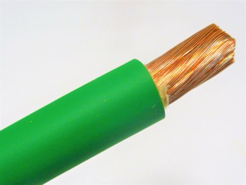 15/' FT 1//0 AWG WELDING//BATTERY CABLE GREEN 600V MADE IN USA COPPER EPDM JACKET