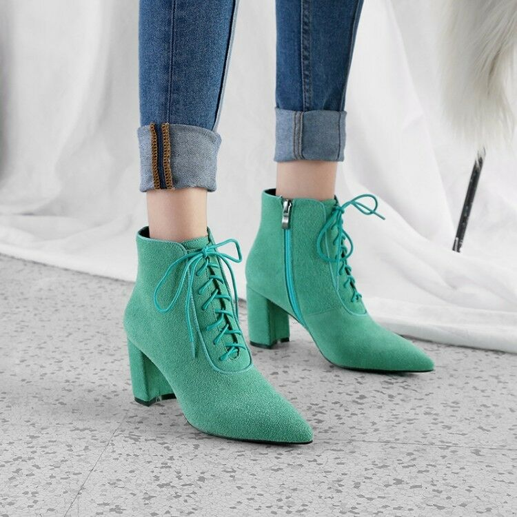 36ffc8911622c Women Lace Up Pointed Toe Solid Zip High Heels Heels Heels Ankle ...