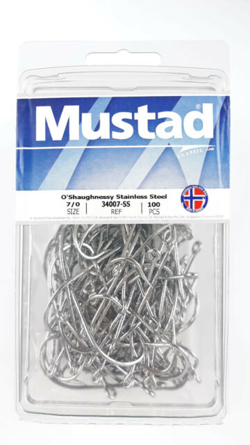 Mustad 34007-SS 2//0 Stainless Steel Fishing Hooks Qty 8