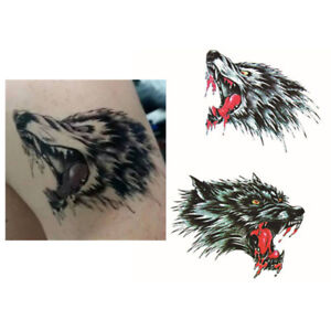 1Set-Double-Wolf-Heads-Removable-Waterproof-Temporary-Tattoo-Sticker-Body-Art-UK