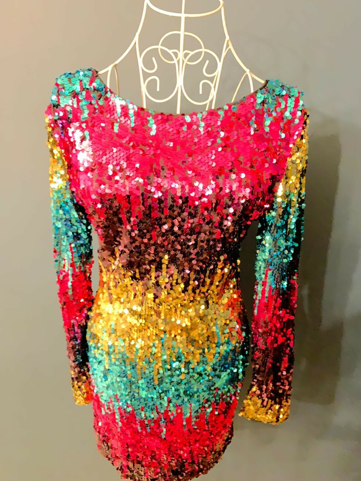 Long sleeve, multi-coloured sequin lined PARTY dress