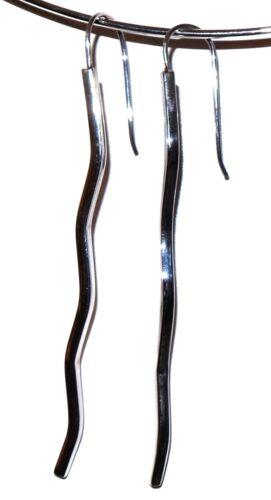 "4.80g SOLID 2.99/"" LONG 925 Sterling Silver Wavy Sticks Bar Lines Big Earrings"