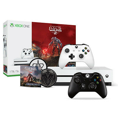 Xbox One S 1TB Halo Wars 2 Bundle + Xbox Controller Black + Spirit of Fire Patch