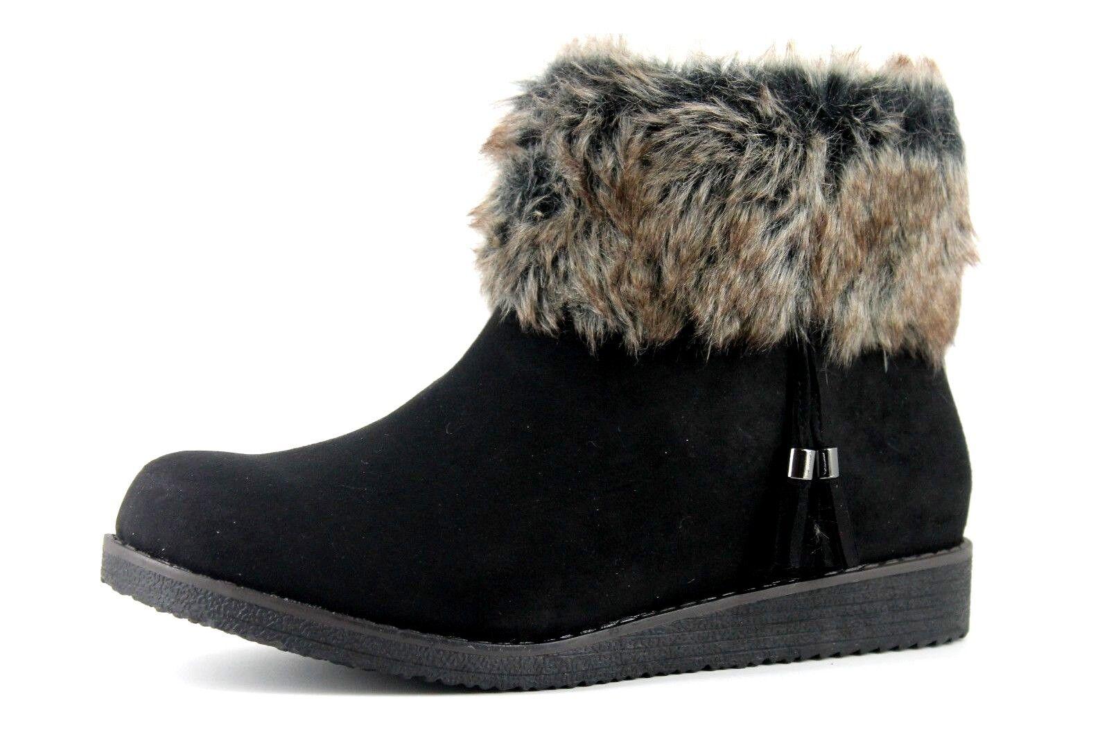 Evans Ashley Womens UK 8 E Wide Fit Fit Fit Black Suedette Faux Fur Zip Up Ankle Boots bb1015