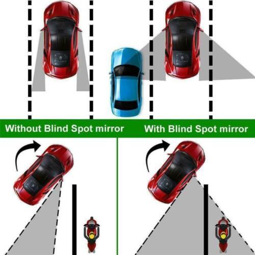 2Pcs Round Blind Spot Mirror HD Glass Frameless Convex Rear View Mirror 360° US