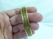 Authentic Hermes Paris Gold-Tone Black Enamel Bangle Bracelet