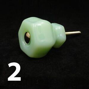 2-MEDIUM-1-25-034-JADEITE-GREEN-GLASS-Kitchen-Cabinet-Drawer-Knobs-Depression