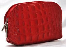 Echt Leder Tasche Schminktasche Abendtasche Geldbörse Kosmetiktasche Rot Kroko