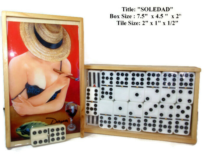 Father's Day Gift  Domino Set Double Nine  Soledad  Oil painting on Top.