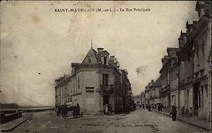Saint-Mathurin-France-alte-AK-1910-La-Rue-Principale-Strassenansicht-Foto-Berthe