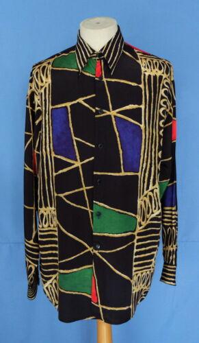 larga Le de rayón hombre estampado S manga geométrico Camisa de multicolor France con Garage Yrra6WwR7