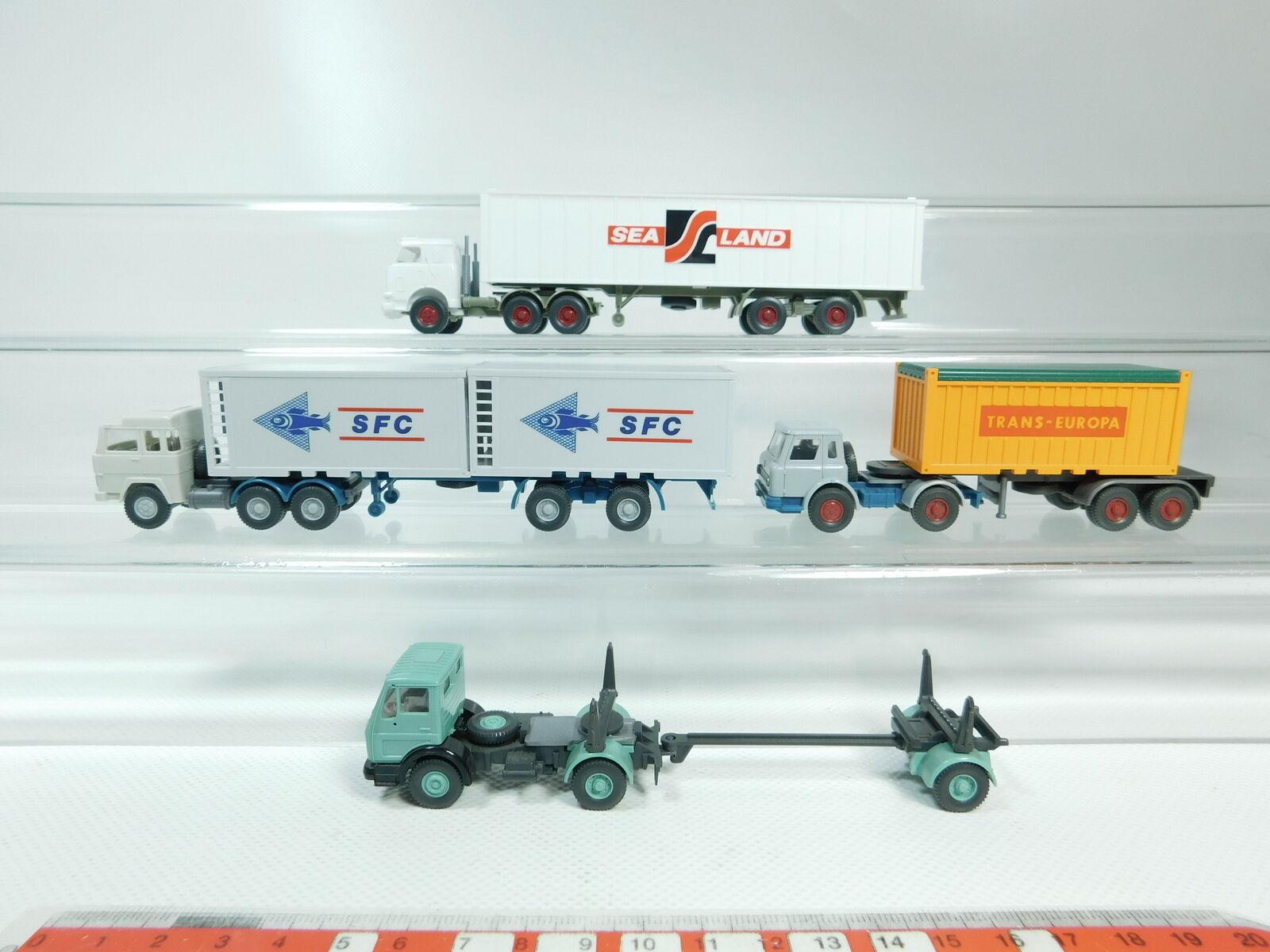 Bh77-0, 5 x WIKING H0   1 87 Camión  MAGIRUS SFC +Sealand +MERCEDES-BENZ   MB