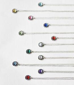 Color-Plata-Gemas-Elegantes-Collar-con-Piedra-de-Nacimiento-Regalo-de-Cumpleanos