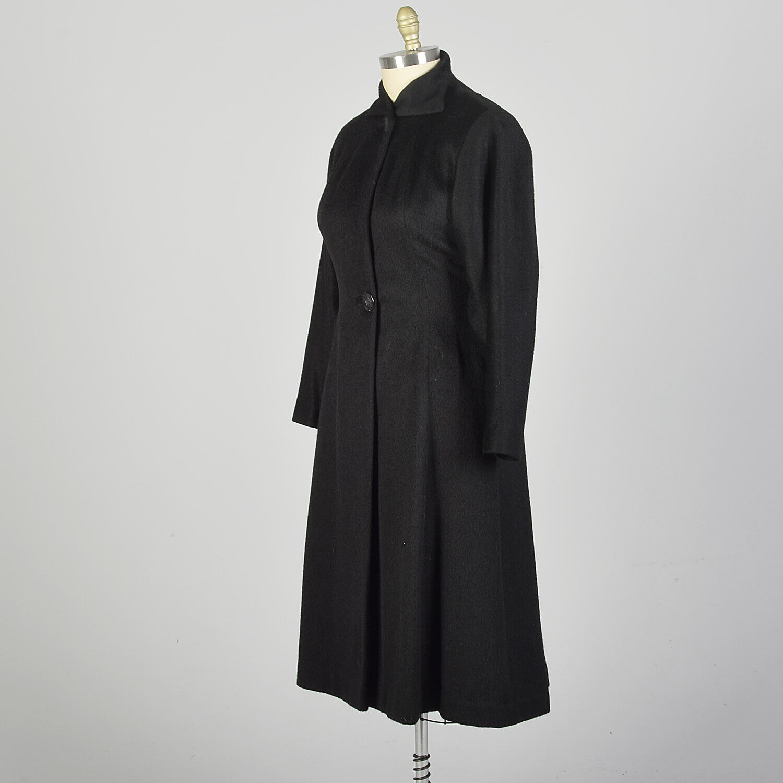 Large 1950s Princess Coat Black Wool Batwing Dolm… - image 2