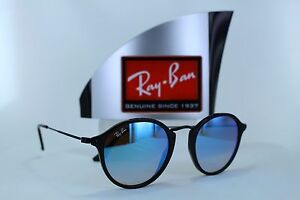 4fc17e57fc900 Ray-Ban Roun Fleck RB2447 901 4O Black Blue Gradient Flash ...