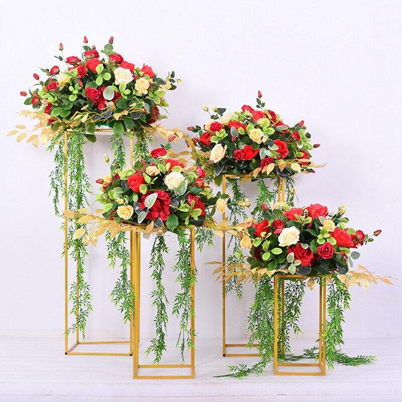 4Pcs Metal Plating Floral Decor Vase Floor Column Stand Road Lead Wedding Supply