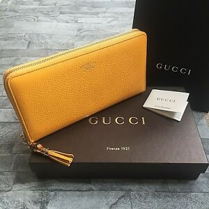 1094cd3cfc Image is loading GUCCI-BAMBOO-TASSEL-TRAVEL-WALLET-MUSTARD-YELLOW-BNIB