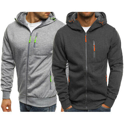 Mens Zip Up Hoodie Edward Sweatshirt Hooded Casual Pocket Sports Coat Top Jumper