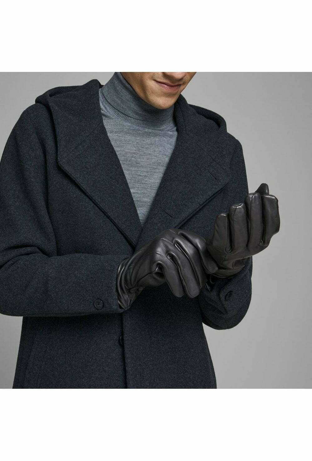 Jack And Jones Jacmontana Leather Gloves Black