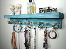 Jewelry Organizer Wall Hanging Jewelry Holder with Shelf. Weathered Teal Wood