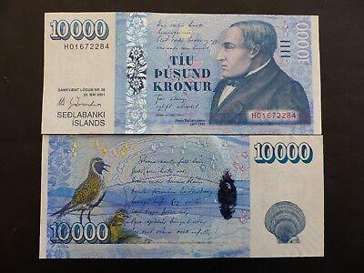 Estilo De Moda Billet De Banque Banknote Islande Iceland 10000 Kronur 2001 New Neuf Unc ConstruccióN Robusta