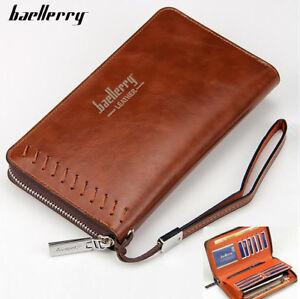 Men-Leather-Clutch-High-Capacity-Purse-Zipper-Long-Credit-Card-Business-Wallet