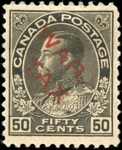 1915-Mint-H-Canada-F-VF-Scott-MR2D-50c-OVERPRINTED-War-Tax-Stamp