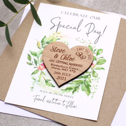 Wedding Save The Date Magnets With Cards Heart Personalised Fridge Foliage Wood