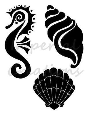"Seahorse Sea Horse Seashell Sea Shells Multiple 8.5/"" x 11/"" Stencil FREE SHIPPING"