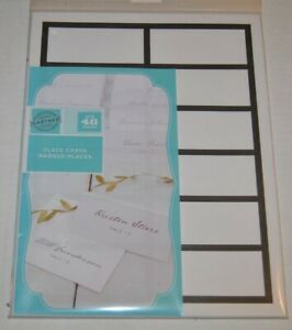 """3/"""" x 4/"""" Gartner Studios Place Cards 48 count White with Black Border"""