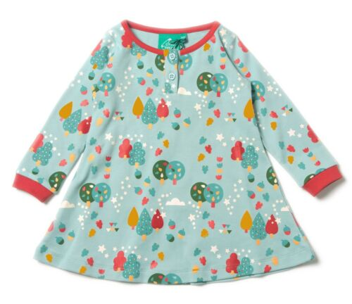 Little Green Radicals Organic Playaway dress Rocket To Moon Magic Forest Bear