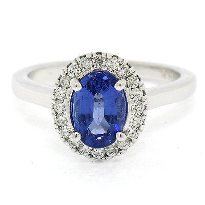 Petite 14k Oro Blanco 1.58ctw Violet Azul Oval Tanzanita Diamante Redondo Anillo | eBay
