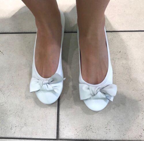 in in estate pelle Uk7 Rrp Ballerine velluto 65 £ bianca Flats blu Ballerine HqwUZdxId