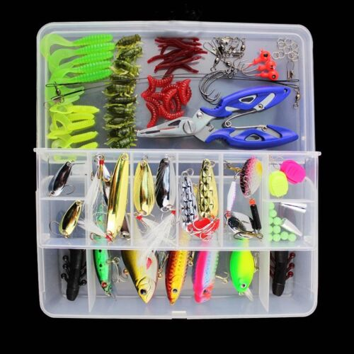 101PCS Fishing Lure Set Kit Lots Free Tackle Fish Lures Baits Tack with Case US