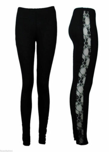 NEW WOMENS LACE SIDE PANEL FULL LENGTH LADIES LEGGINGS  SIZE 8 10 12 14