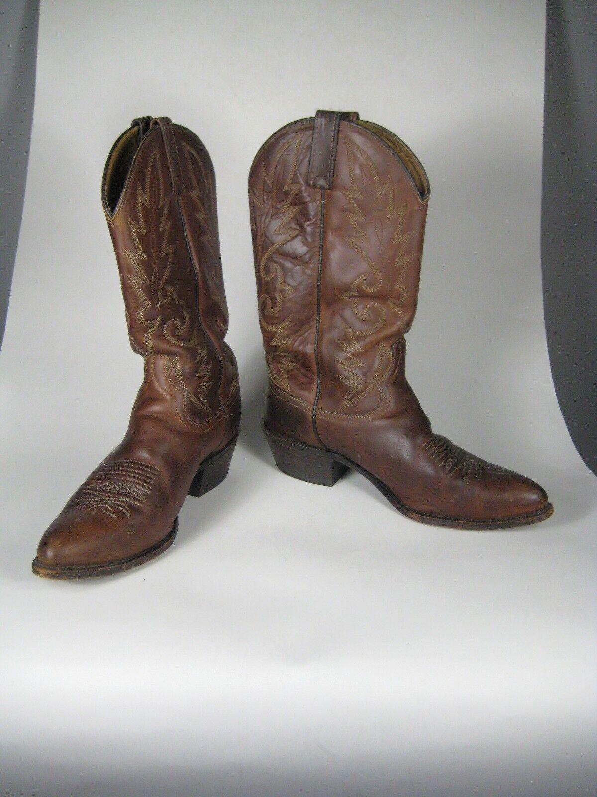 Dan Post Uomo Stivali Size 10 D Brown Pelle Western Cowboy 078051 El Paso Vintage