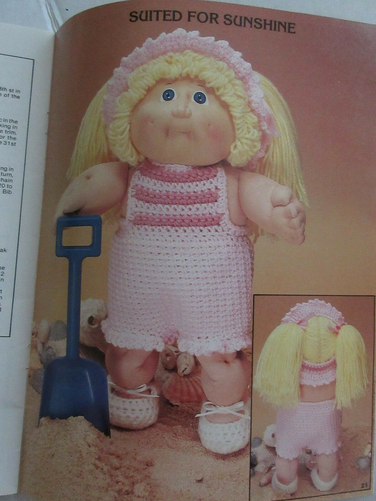 Cabbage Patch Kids Crocheted Outfits Dolls Wardrobe Sweaters Pants Dress Cap Xavier Roberts Doll Vintage 1985 SC Dolls Book Pattern # 7867