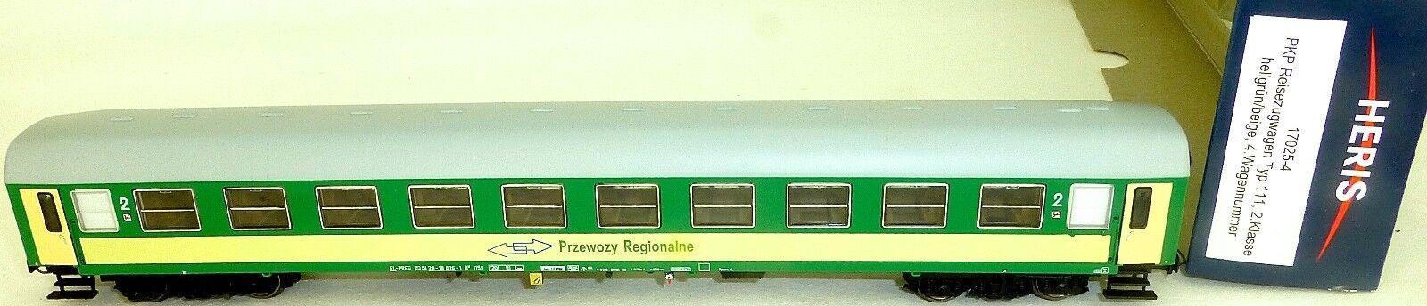 Pkp Voiture Ferroviaire Przewozy Regionalne green Clair Beige Heris 17025-4 H0