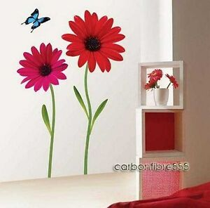LARGE-RED-DAISY-FLOWERS-Wall-Stickers-PREMIUM-PVC-Girls-Room-Art-Decals-Lounge