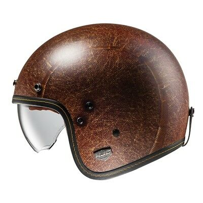 HJC FG-70s Open Face Motorcycle Scooter Helmet Vintage Flat Brown