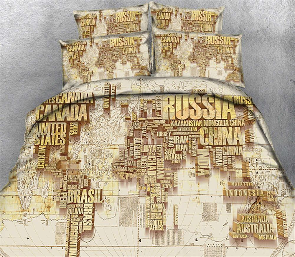 Golden Obvious Map 3D Printing Duvet Quilt Doona Covers Pillow Case Bedding Sets
