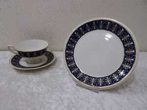 DDR-Design-Lettin-Porzellan-Sammelgedeck-Vintage-um-1960-70-Echt-Kobalt