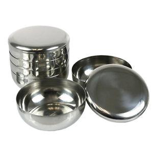 4 sets korean stainless steel rice bowl lid kitchen restaurant dinner bowl 720189611179 ebay. Black Bedroom Furniture Sets. Home Design Ideas