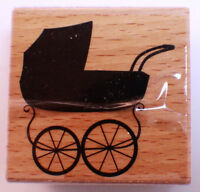 Baby Buggy Doll Carriage Vintage Style Studio Wooden Rubber Stamp