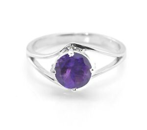 925-Sterling-Silver-Natural-Purple-Amethyst-Ring-Round-Size-5-6-7-8-9-10-11