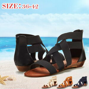Women-039-s-Ladies-Summer-Cross-Elastic-Strap-Ankle-Wedges-Roman-Sandals-Shoes-Size