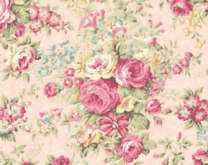 Cottage-Shabby-Chic-Quilt-Gate-Classic-Library-Floral-Fabric-QUGRU2400-12D-BTY